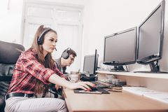 Colleagues working in a call center royalty free stock photos