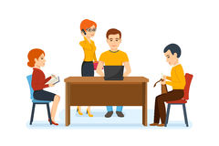 Colleagues, working in office, discussing work issues with the head. Stock Photography