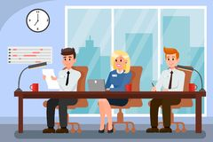 Colleagues Working in Office Vector Illustration. Busy Workers during Workday. Selection Commitee. Seminar, Meeting. HR Managers. Clock, Schedule on Wall royalty free illustration