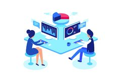 Colleagues working in workplace, isometric style, vector illustration. Colleagues working in workplace. Working with data, isometric style, vector illustration vector illustration