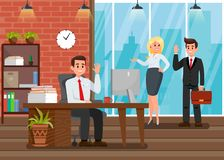 Colleagues at Workplace Flat Vector Illustration. New Employer. Office Worker Waving Hi. Computer and Coffee Cup on Table. Character in Suit with Case. Piles stock illustration