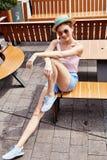 Collec ocasional do humor moreno bonito do verão da mulher do modelo de forma Imagem de Stock