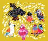 Collecion экзотических австралийских птиц и тропических листьев на предпосылке золота иллюстрация вектора