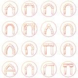 Collecion delle icone di schizzo dei tipi differenti arco Fotografia Stock