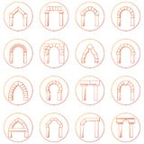 Collecion dos ícones do esboço de tipos diferentes arco Fotografia de Stock