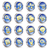 Collect Applications Icons. On 3D Buttons, vector isolated on white background Royalty Free Stock Photo
