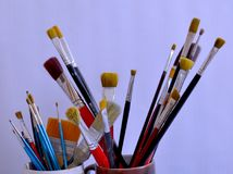 Collect of brushes. Art brushes for paint and draw royalty free stock photo