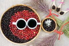 Collect of cafe bean, cup of coffee Royalty Free Stock Image