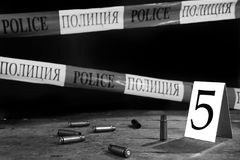Collect evidance concept. Scene of criminal investigation collect evidance, black and white stock photography
