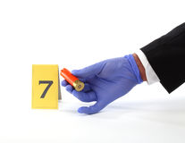 Collect evidence. An investigator collect fired cartridge royalty free stock images