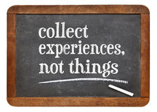 Collect experience, not things Stock Photos