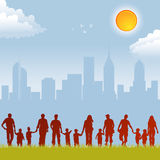 Collect family silhouettes Royalty Free Stock Photo