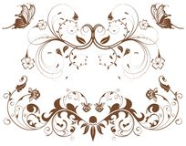 Collect flower border. With butterfly, element for design, vector illustration Stock Image