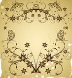 Collect flower border. On grunge background with butterfly, element for design, vector illustration Stock Photos