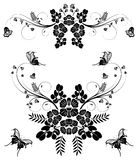 Collect flower border. With butterfly, element for design, vector illustration Royalty Free Stock Photos