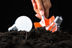Collect idea. Hand use shovel to dig and collect light bulb in soil royalty free stock images