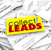 Collect Leads Business Cards New Customer Prospects Names. Collect Leads words on a pile of business cards from new customers and prospects for your growing Stock Photo