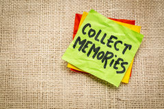 Collect memories on a sticky note. Collect memories - advice or reminder on a sticky note against burlap canvas stock photo