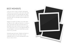 Collect moments. Set isolated vector photos. Retro fotos on white background. Collect moments with instant photos. Vector isolated photo frames with place for Royalty Free Stock Images