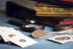 Collect old valuable coins Stock Images