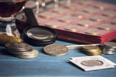 Collect old valuable coins Stock Photos