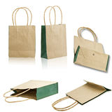 Collect paper bag. Isolated on white background royalty free stock photography