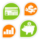 Collect Sticker. With business and finance icon, element for design, vector illustration Stock Photos
