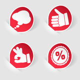 Collect Sticker with Hand and Speech Bubble Stock Photos
