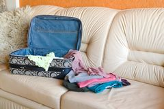 Collect suitcase in road Royalty Free Stock Images