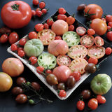 Collect of tomatoes, cheap food anticancer. Collect of tomatoes, a popular and cheap food with many uses as antioxidants, skin care, anticancer, good for stock photo