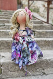 Collectable handmade textile doll with natural hair standing on. Collectable handmade textile doll with natural hair in a long dress standing on the steps Royalty Free Stock Photography