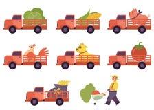 Collecte plate plate de camion d'agriculteur livrant l'agriculteur d'animaux de bétail illustration libre de droits