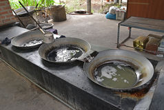Collected Coconut Tree sap from  in large woks to evaporate the moisture content of the sap Stock Photo