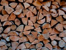 The collected firewood in the autumn for the winter royalty free stock image