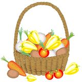 Collected a generous harvest. In the basket, potatoes, carrots, tomatoes, onions and peppers. Fresh beautiful vegetables. Vector stock illustration