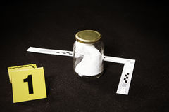 Collected odor trace on crime scene in car trunk Stock Image