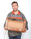 Collecteur heureux des radios de vintage Image stock