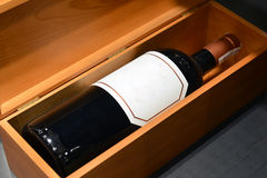 Collectible bottle of red wine Stock Images