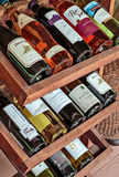 Collectible French wines in the wine shelf in a restaurant Stock Photos