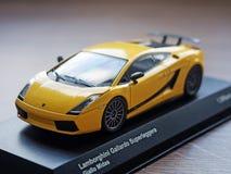 Collectible model of Lamborghini Gallardo Superleggera Giallo Mi. Los Angeles, CA, USA - August 31, 2015: Collectible model of Lamborghini Gallardo Superleggera Royalty Free Stock Photos