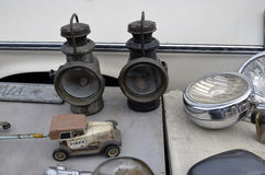 Collectible. Old lamps at Swap Meet Stock Photo