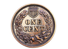 Collectible Penny. Replica of the 1877 Liberty US penny coin stock photo