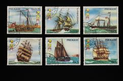 Collectible stamps from Paraguay. Set of retro ships. Collectible stamps from Paraguay, issued in 1984. Set of retro ships royalty free stock photos