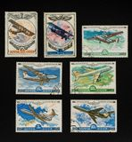 Collectible stamps from USSR. Set of airplanes. Collectible stamps from USSR Soviet Union, issued in 1976-1979. Set of airplanes royalty free stock images