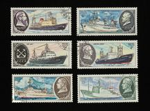 Collectible stamps from USSR Soviet Union,. Issued in 1980. Set of ships royalty free stock image