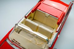 Collectible toy car model of classic American car. View from above. stock images