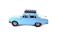 Collectible toy model blue Soviet car Stock Photos