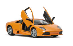 Collectible toy model sport car. Almaty, Kazakhstan - June 17, 2014: Collectible toy model Lamborghini Murcielago LP640   on white background Royalty Free Stock Image