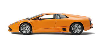 Collectible toy model sport car. On white background Royalty Free Stock Photos