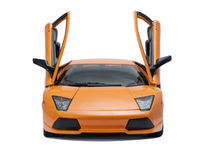 Collectible toy sport car model. Front view  with open doors on white background Stock Photos